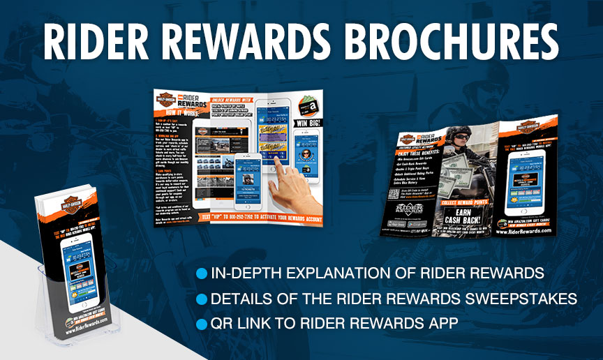 Rider Rewards Brochures - In-depth explanation of Rider Rewards; QR link to Rider Rewards app